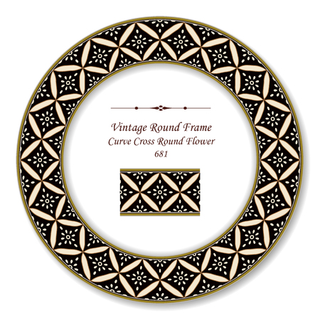 Vintage Round Retro Frame curve cross round flower, antique style template ideal for invitation or greeting card design.