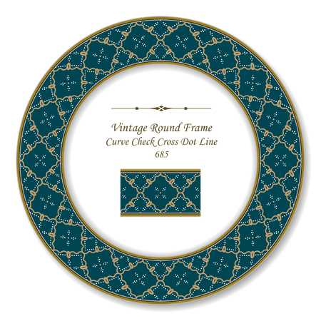 Vintage Round Retro Frame curve spiral check cross dot line, antique style template ideal for invitation or greeting card design.