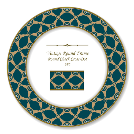 Vintage Round Retro Frame check cross dot, antique style template ideal for invitation or greeting card design.