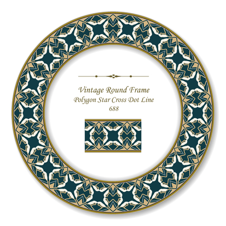 Vintage Round Retro Frame polygon star cross dot line, antique style template ideal for invitation or greeting card design.