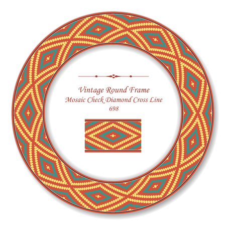 Vintage Round Retro Frame mosaic pixel check diamond cross line, antique style template ideal for invitation or greeting card design.