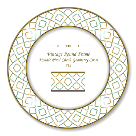 Vintage Round Retro Frame mosaic pixel check geometry cross, antique style template ideal for invitation or greeting card design.