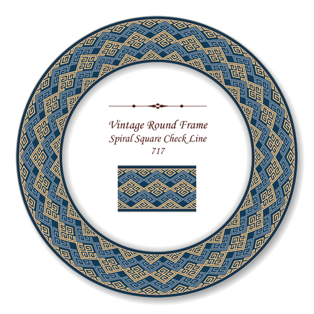 Vintage Round Retro Frame spiral square check tracery line, antique style template ideal for invitation or greeting card design.