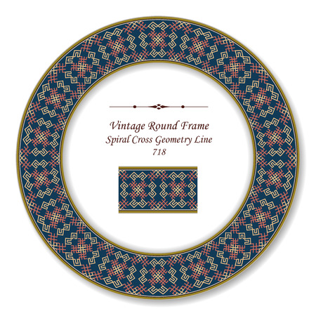 Vintage Round Retro Frame spiral cross geometry line, antique style template ideal for invitation or greeting card design.