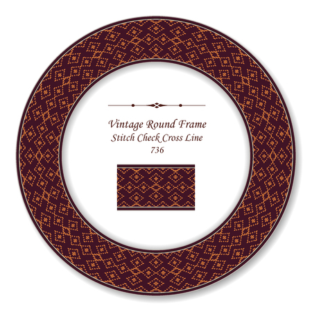 Vintage Round Retro Frame stitch check cross line, antique style template ideal for invitation or greeting card design.