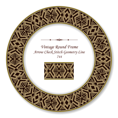 Vintage Round Retro Frame arrow check stitch geometry line, antique style template ideal for invitation or greeting card design.