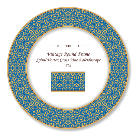 Vintage Round Retro Frame yellow spiral vortex curve vine kaleidoscope, antique style template ideal for invitation or greeting card design.