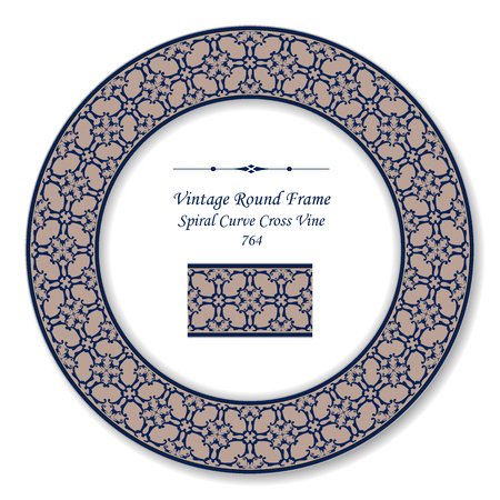 Vintage Round Retro Frame spiral curve cross vine, antique style template ideal for invitation or greeting card design.