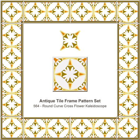 Antique tile frame pattern set round curve cross flower kaleidoscope, ceramic decoration template for greeting card design.