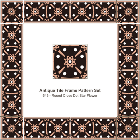 Antique tile frame pattern set round cross dot star flower, ceramic decoration template for greeting card design.