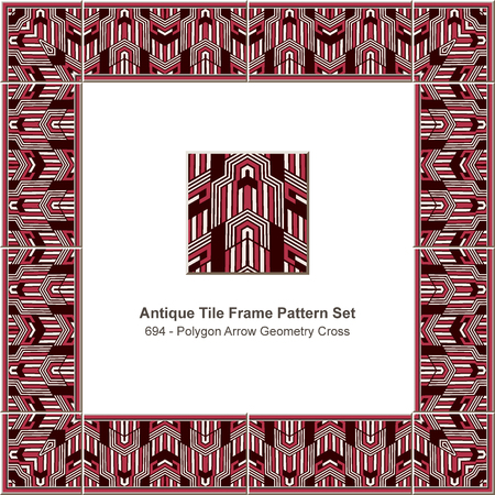 Antique tile frame pattern set polygon arrow geometry cross, ceramic decoration template for greeting card design.