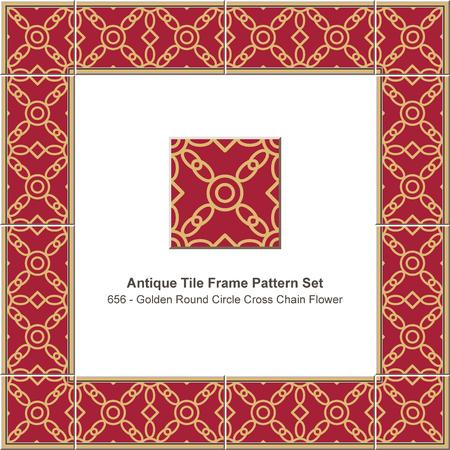Antique tile frame pattern set golden round circle cross chain flower, ceramic decoration template for greeting card design.