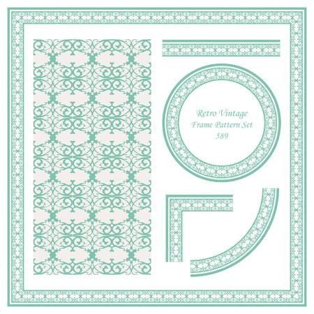 Vintage border seamless pattern background set spiral curve cross royal luxury frame crest, ideal for invitation greeting card or memo template design.
