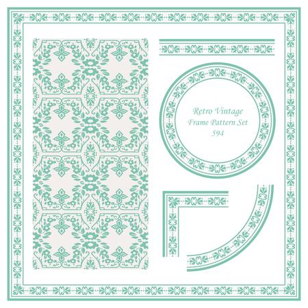 Vintage border seamless pattern background set spiral cross elegant botanic flower frame, ideal for invitation greeting card or memo template design. 向量圖像