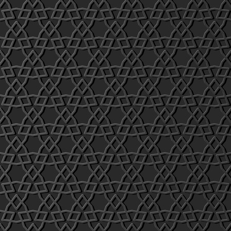 3D dark paper art Islamic geometry cross pattern seamless background, Vector stylish decoration pattern background for web banner greeting card design