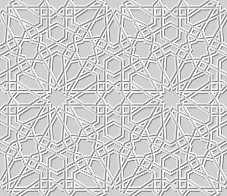3D white paper art Islamic geometry cross pattern seamless background, Vector stylish decoration pattern background for web banner greeting card design