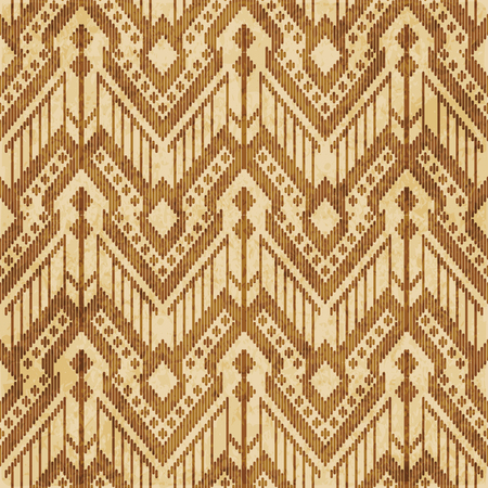 Retro brown cork texture grunge seamless background stitch cross check triangle frame line