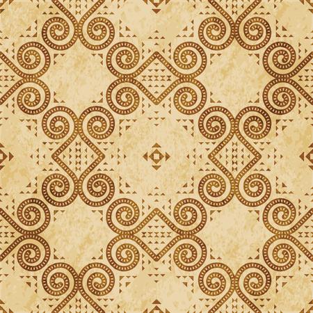 Retro brown cork texture grunge seamless background round spiral curve vortex triangle frame