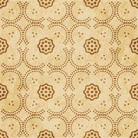 Retro brown cork texture grunge seamless background curve dot line frame flower Illustration