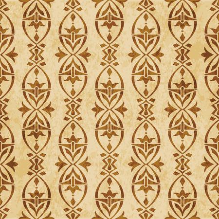 Retro brown cork texture grunge seamless background oval curve cross frame flower