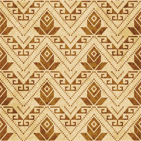 Retro brown cork texture grunge seamless background triangle aboriginal cross dot line flower