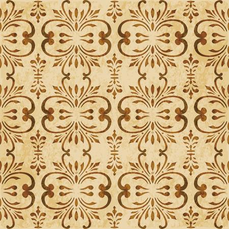 Retro brown cork texture grunge seamless background spiral curve cross botanic flower vine