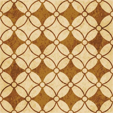 Retro brown cork texture grunge seamless background round cross curve flower frame Vector Illustratie