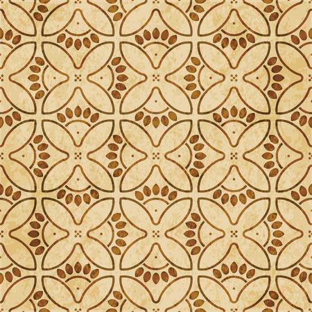 Retro brown cork texture grunge seamless background round curve cross flower petals frame