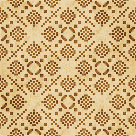 Retro brown cork texture grunge seamless background Square Mosaic Cross Check Geometry Illustration