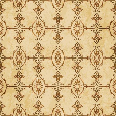 Retro brown cork texture grunge seamless background spiral cross garden chain frame flower