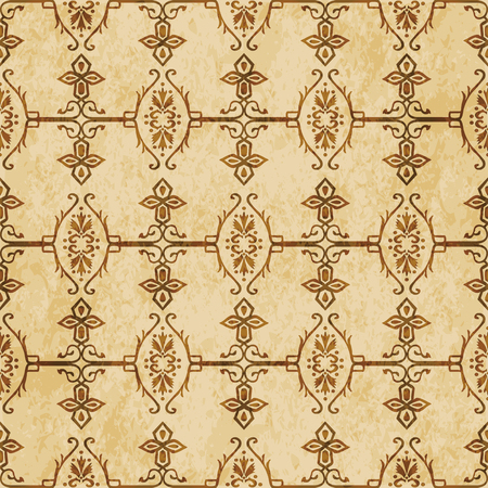 Retro brown cork texture grunge seamless background spiral cross garden chain frame flower