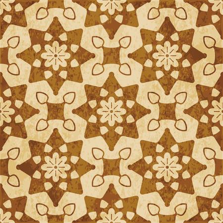 Retro brown cork texture grunge seamless background round curve star cross frame flower