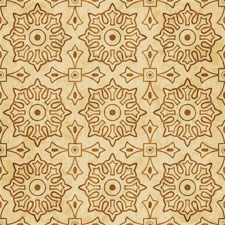 Retro brown cork texture grunge seamless background Round Cross Square Geometry Flower Illustration