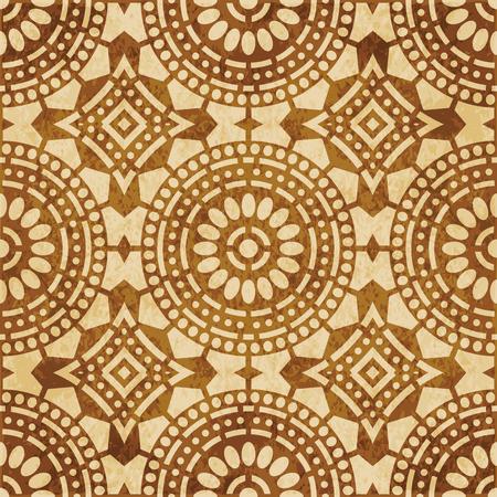 Retro brown cork texture grunge seamless background round cross dot line frame flower