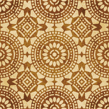Retro brown cork texture grunge seamless background round cross dot line frame flower