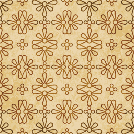 Retro brown cork texture grunge seamless background round curve cross petals flower