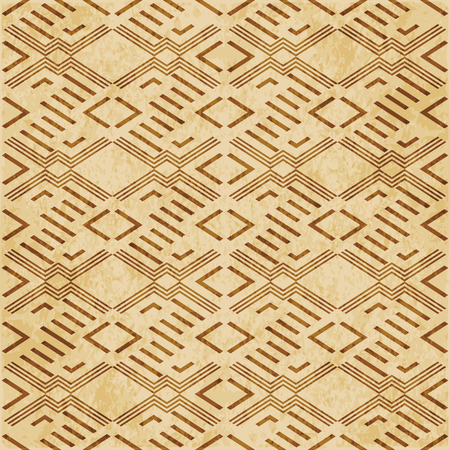 Retro brown cork texture grunge seamless background diamond check cross geometry frame
