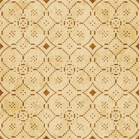 Retro brown cork texture grunge seamless background Curve Cross Dot Flower Line