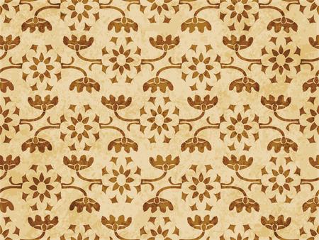 Retro brown cork texture grunge seamless background curve cross stem leaf vine flower