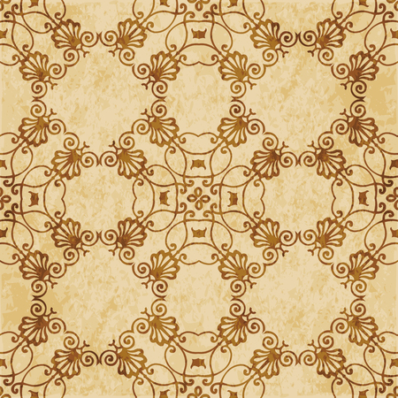 Retro brown cork texture grunge seamless background spiral curve check cross frame flower crest