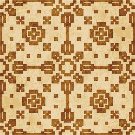Retro brown cork texture grunge seamless background Mosaic Geometry Cross Square check  イラスト・ベクター素材
