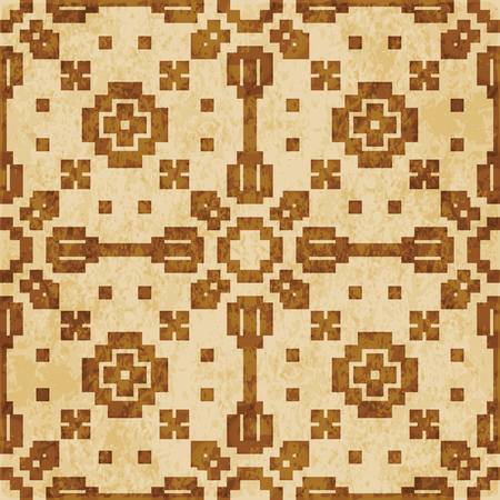 Retro brown cork texture grunge seamless background Mosaic Geometry Cross Square check Illustration