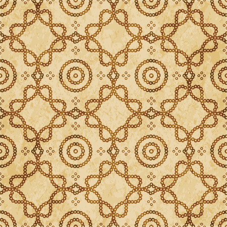 Retro brown cork texture grunge seamless background round dot curve cross frame line