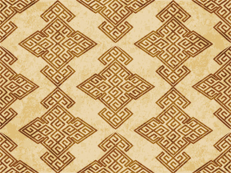 Retro brown cork texture grunge seamless background spiral polygon check cross frame tracery  イラスト・ベクター素材
