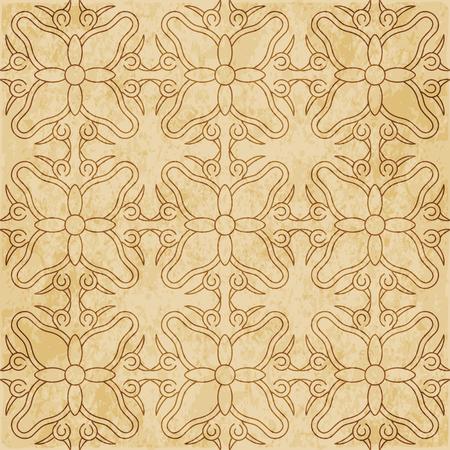 Retro brown cork texture grunge seamless background round curve spiral cross vine flower frame
