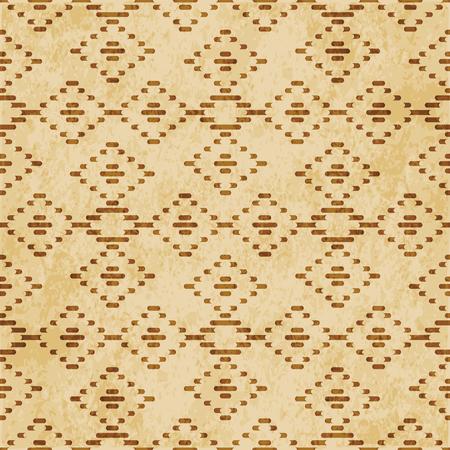 Retro brown cork texture grunge seamless background check diamond cross line frame
