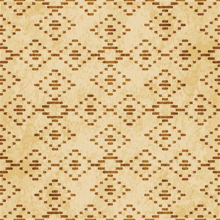Retro brown cork texture grunge seamless background check diamond cross line frame