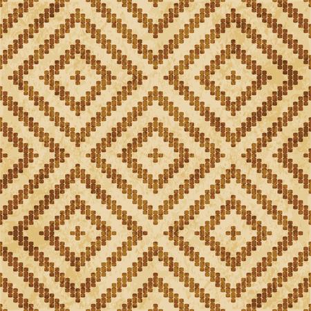 Retro brown cork texture grunge seamless background curve cross line check square frame