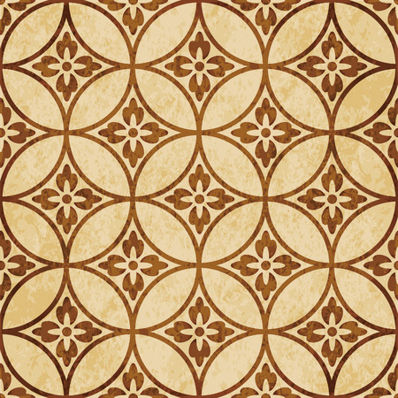 Retro brown cork texture grunge seamless background round cross frame flower