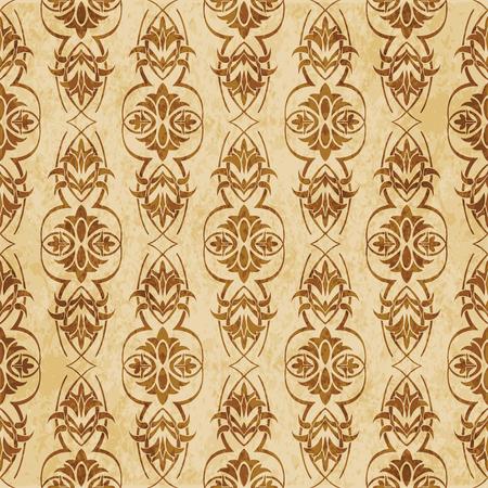 Retro brown cork texture grunge seamless background garden curve cross vine flower leaf Stock Vector - 103577227